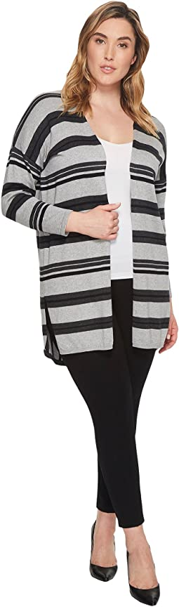 Plus Size Long Sleeve Color Blocked Striped Open Front Cardi