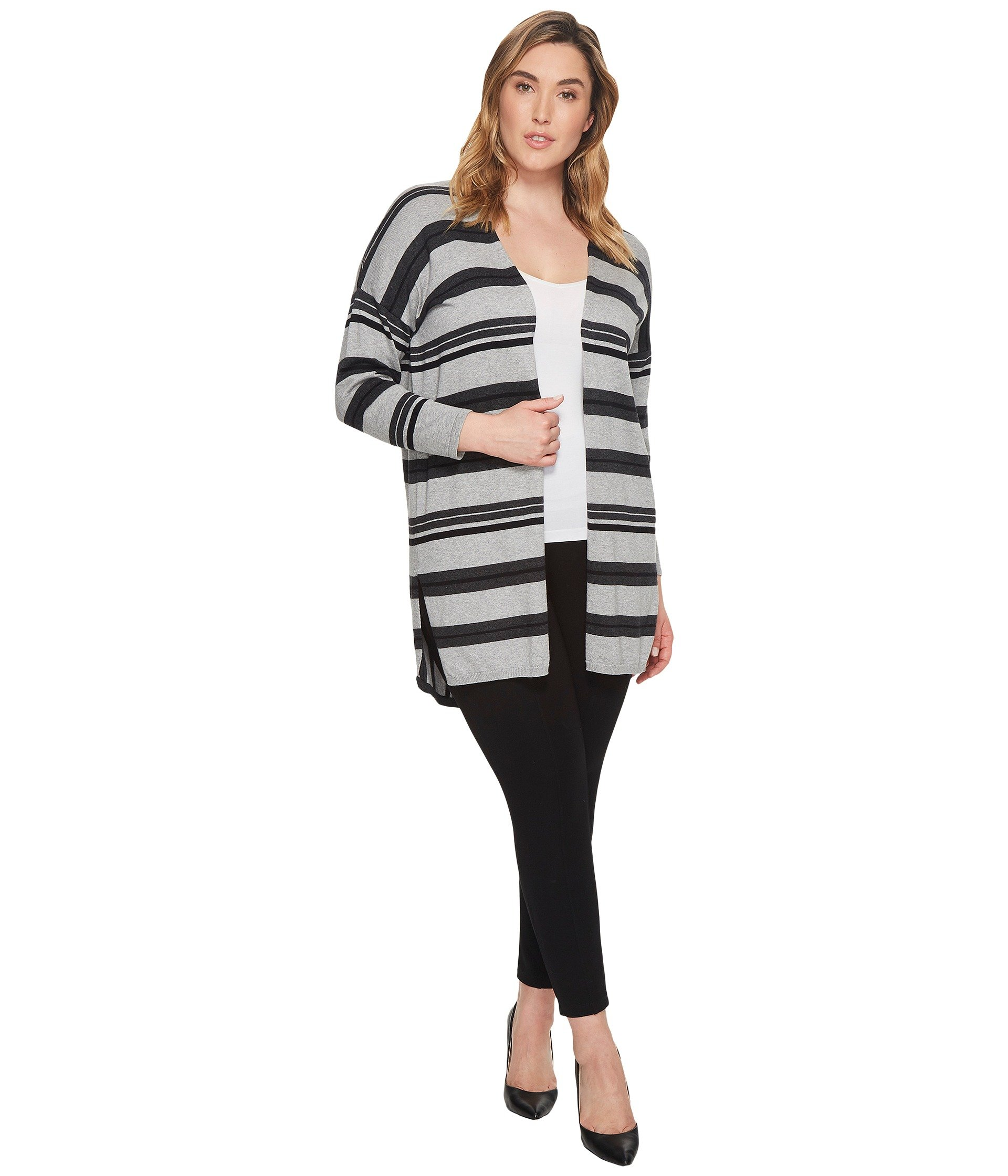 Saco para Mujer Vince Camuto Specialty Size Plus Size Long Sleeve Color Blocked Striped Open Front Cardi  + Vince Camuto en VeoyCompro.net