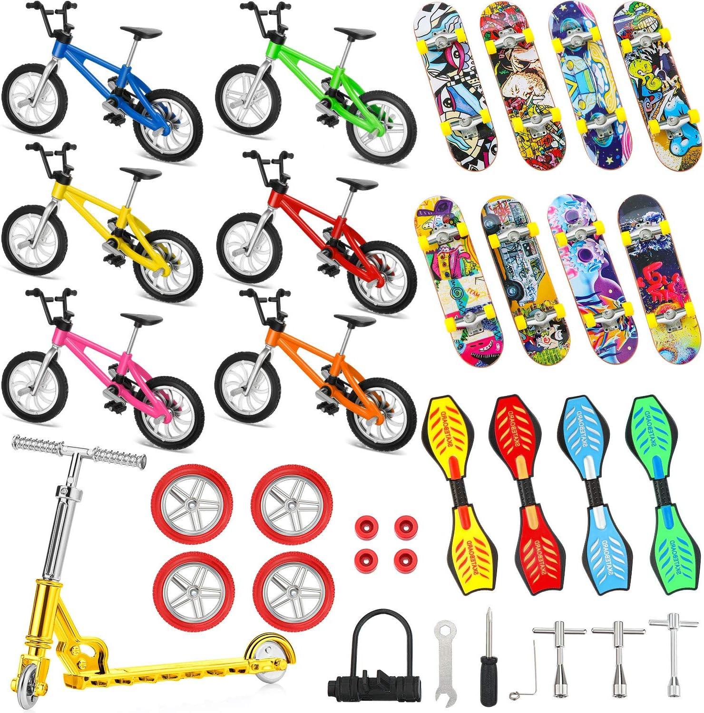 34 Pieces Mini Finger Toys Set Finger Skateboards Finger Bikes S