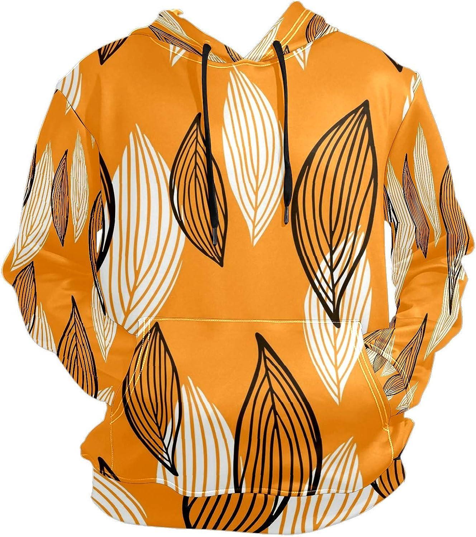Orange Autumn Leaves Print Mens Sport Hoodie Big and Tall Hoodies for Men Women Oversized Hooded Sweatshirt Hip Hop Pullover Hoodie Midweight Hood for Boys Girls