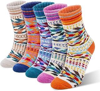 RenFox, Calcetines de invierno para mujer, 5 pares de calcetines cálidos para mujer, de algodón, talla única, transpirables, cálidos y suaves