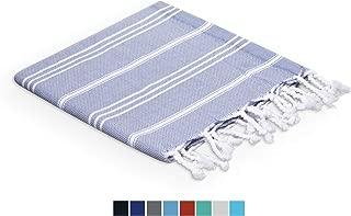 Valorosa (Pack of 4) Turkish Peshtemal Hand Towels 23x35 100% Cotton Towel Set Striped - Multipurpose use for Hand, Face, Hair, Bath, Guest, Kitchen, Gym, Spa (Blue Grey)