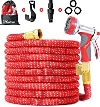 100 FT Expandable Garden Hose, 2019 Upgrade Flex Garden Water Hose with 3/4 Brass Fittings, Durable Outdoor Gardening Flexible Hose for Yard, Expanding Garden Hoses with Spray Nozzle