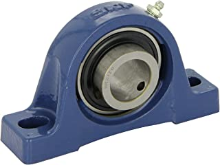 SKF SY 2. TF Pillow Block Ball Bearing, 2 Bolts, Setscrew Locking Collar, Contact Flinger Seals, Cast Iron, Inch, 2