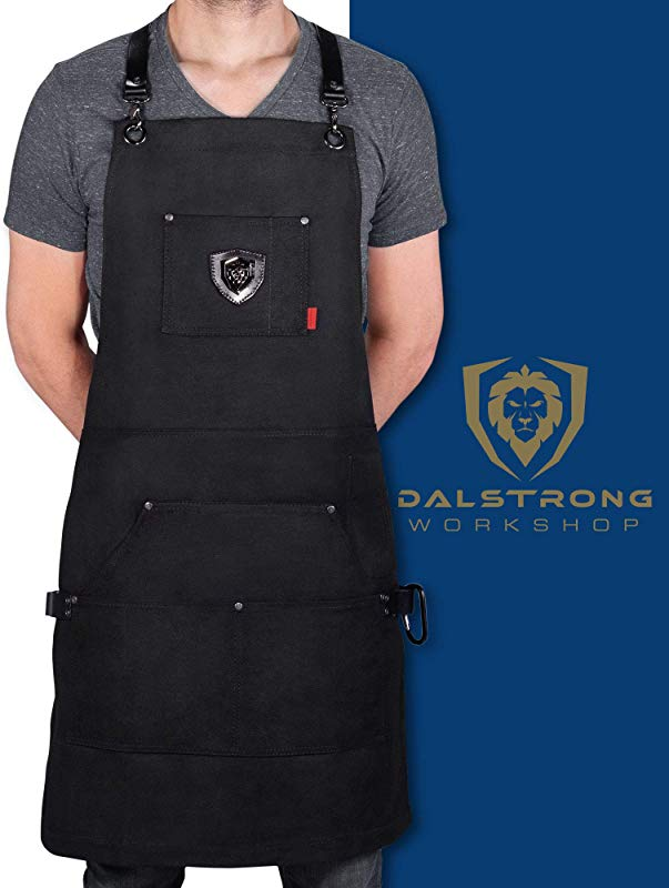 Dalstrong Professional Chef S Kitchen Apron Sous Team 6 Heavy Duty Waxed Canvas 5 Storage Pockets Towel Tong Loop Liquid Repellent Coating Genuine Leather Accents Adjustable Straps