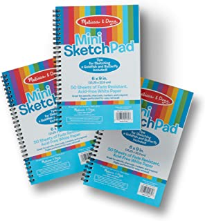 Melissa & Doug Mini Sketch Pad of Paper (6 x 9 inches - 50 Sheets, 3-Pack, Great Gift for Girls and Boys - Best for 3, 4, 5, 6, 7 Year Olds and Up)