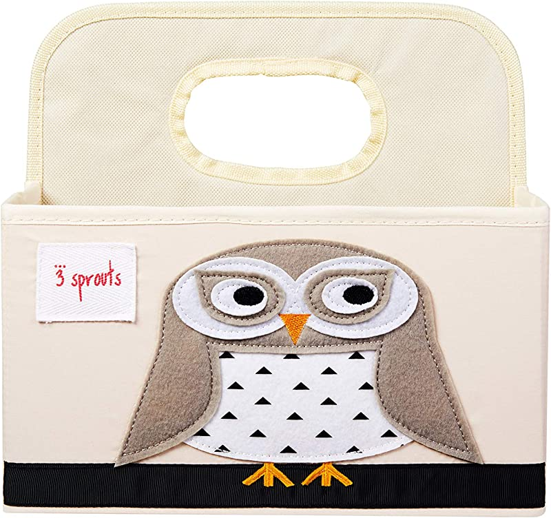 3 Sprouts Baby Diaper Caddy Organizer Basket For Nursery Owl
