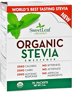 Sweet Leaf Sweetener - Organic - Stevia - 70Count- 95%+ Organic - Use SweetLeaf in place of sugar