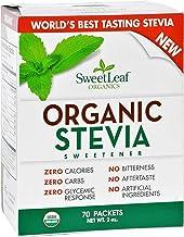سويت ليف سويتنر أورجانيك ستيفيا من ستايفيا عدد 70 95% + ورق سويت ليف للاستخدام العضوي في مكان عبوة من 1 سكر