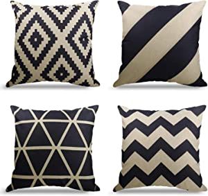 WEYON Geometric Pattern Throw Pillows Covers 18 x 18 Inch Cotton Linen Cushion Covers for Couch Decorative Set of 4