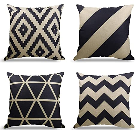 Amazon Com Weyon Geometric Pattern Throw Pillows Covers 18 X 18 Inch Cotton Linen Cushion Covers For Couch Decorative Set Of 4 Home Kitchen
