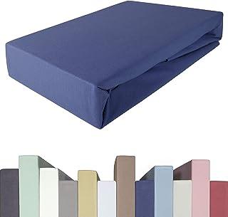 Drap-housse 200 x 220 à 220 x 240 à 40 cm de hauteur | Qualité supérieure | Jersey de coton avec 5 % élasthanne | Pour lit...