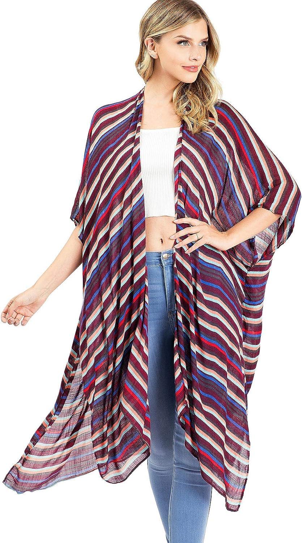 Lana Roux Women's Lightweight Scarf Oversize Layering Kimono Cardigan