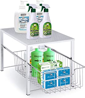 Simple Trending Under Sink Cabinet Organizer with Sliding Storage Drawer, Desktop Organizer for Kitchen Bathroom Office, Stackable, Chrome