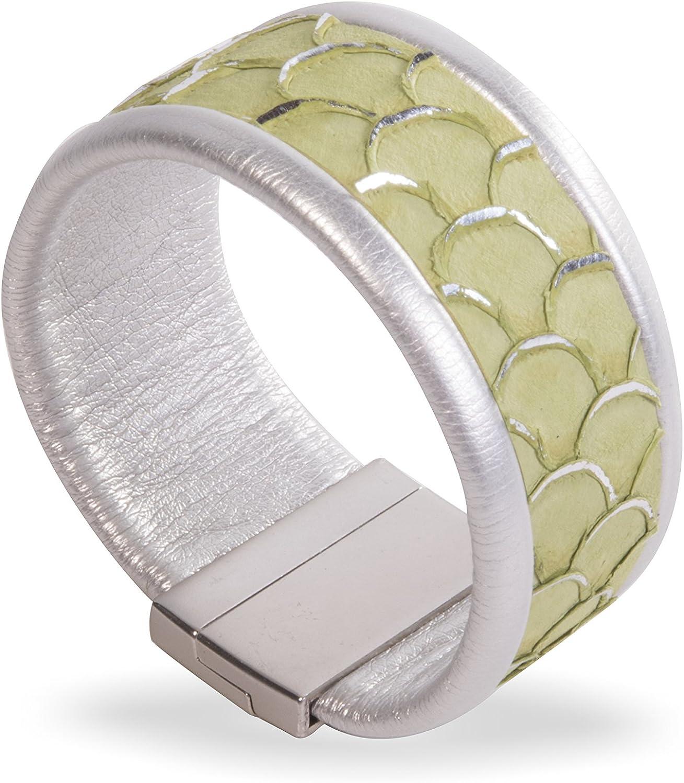 Amanda Blu Leather Cuff Bracelet - Thin Green Scale