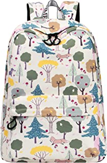 VOLINER Cute Fox Print Laptop Backpack Bookbag School Bags Travel Daypack Beige