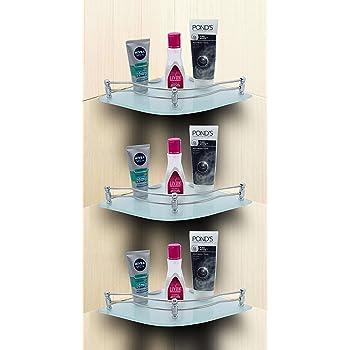 U-S-F BATH ACCESSORIES Glass Corner Shelf Bathroom Shelf and Kitchen Shelf Bathroom Accessories - 9 X 9 Inches -Glossy-Flower (Transparent) Pack of 3