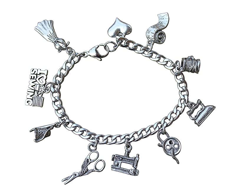 Night Owl Jewelry Love to Sew Stainless Steel & Pewter Charm Bracelet- Button, Thimble, Spool, Sewing Machine- Size XS-XL