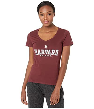Champion College Harvard Crimson University V-Neck Tee (Maroon 2) Women