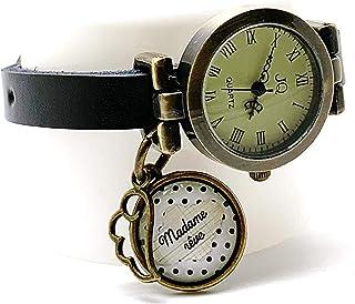 """orologio braccialetto in pelle nera,""""Madamre rêve"""" - regalo di Natale, regalo di donna, regalo di San Valentino, idea rega..."""