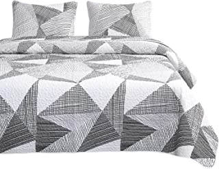 Wake In Cloud - Geometric Quilt Set, Triangle Modern Pattern Printed in Black White and Gray Grey, 100% Cotton Fabric with Soft Microfiber Inner Fill Bedspread Coverlet Bedding (3pcs, Queen Size)