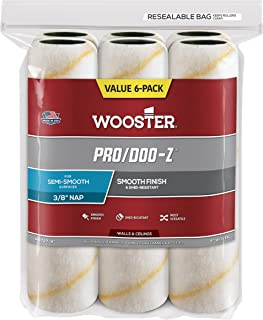 Wooster Brush RR727-9 Pro/Doo-Z Nap Rollers, 3/8-Inch, 6-Pack