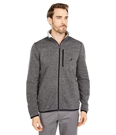 Nautica Fleece Zip Sweater (Charcoal Heather) Men
