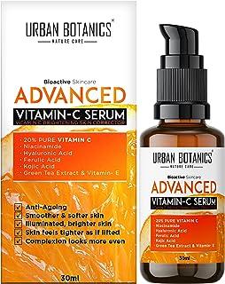 UrbanBotanics Advanced Vitamin C Face Serum 20% - Men & Women - with Hyaluronic, Ferulic & Kojic Acid, Niacinamide, Green ...