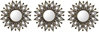 All American Collection New 3 Piece Decorative Mirror Set, Wall Accent Display (Golden Star)