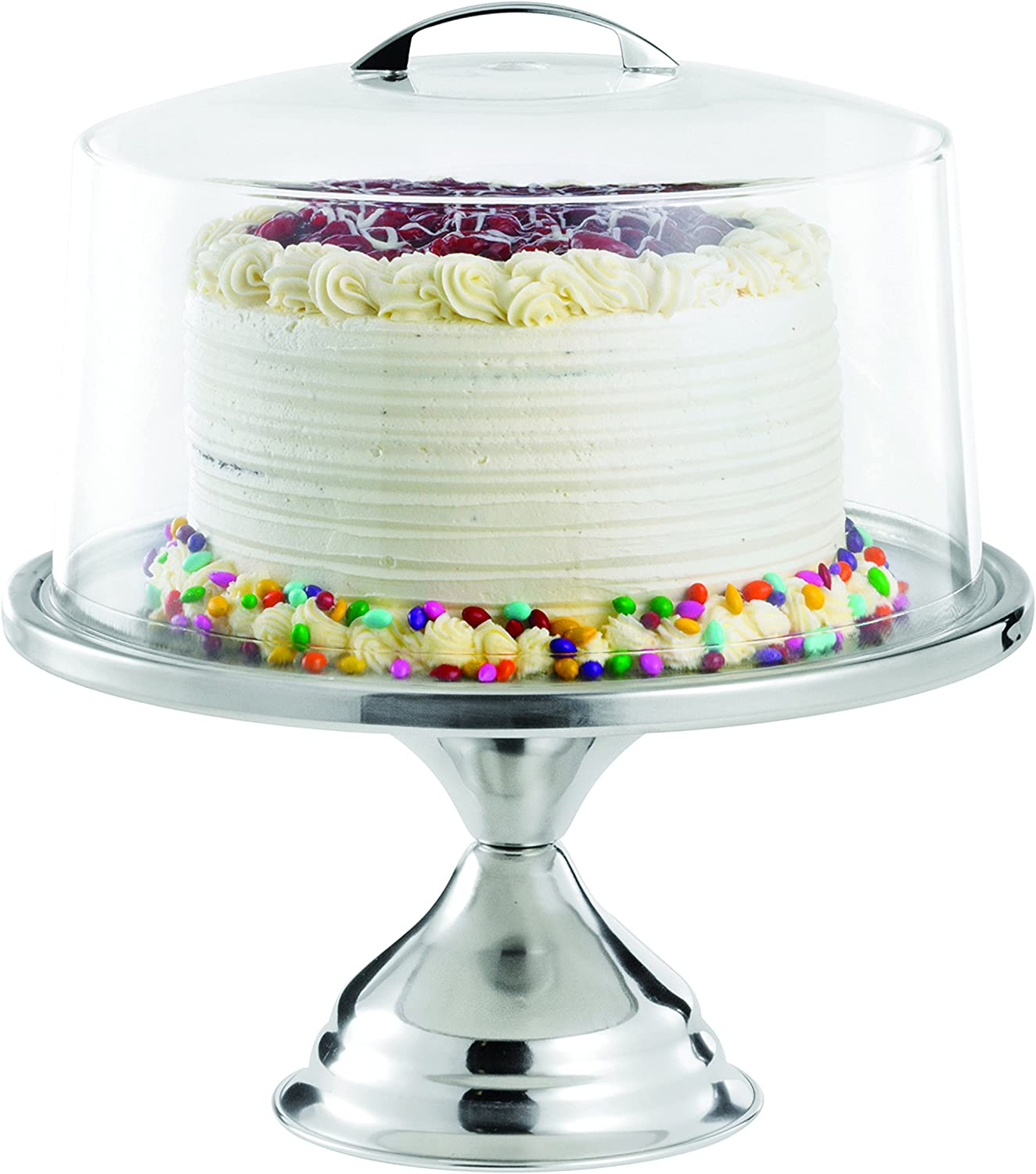 TableCraft Products 821422 Cake Stand & Cover Set, 12.75  Dia x 13.75  H