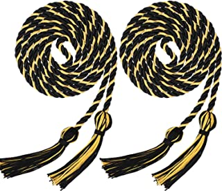 2 Pieces Graduation Cords Polyester Yarn Honor Cord with Tassel for Graduation Students (Black with Gold)