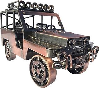 Der Eisenhans JP-05 Modèle de voiture Jeep en métal fait à la main en fer Sculpture 23,0 cm x 9,8 cm x 13,0 cm