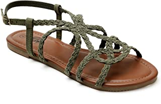 Trary Braided Strap Open Toe Summer Flat Sandals for Women