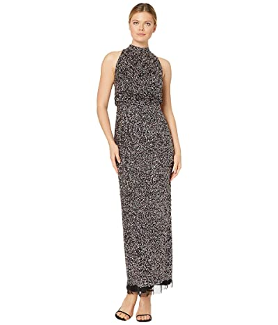 Adrianna Papell Beaded Halter Blouson Gown (Black Multi) Women