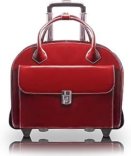 "McKlein, W Series, Glen Ellyn, Top Grain Cowhide Leather, 15"" Leather Patented Detachable -Wheeled Ladies' Laptop Briefcase, Red (94366)"