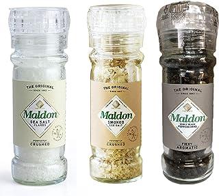 Molinillo de sal marina de Maldon perfectamente triturado, sal marina ahumada y pimienta