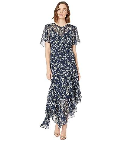 ASTR the Label Flutter Sleeve Maxi Dress (Blue/Green Floral) Women