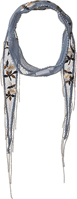 Chan Luu - Vintage Floral Embroidered Short Skinny Scarf