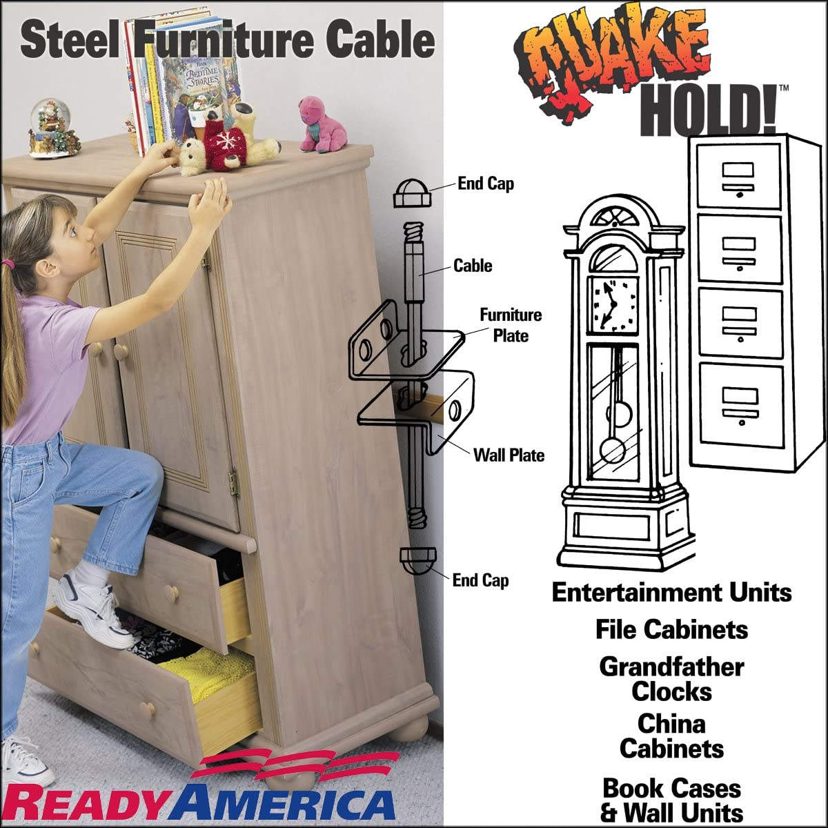 2930 4-Inch Steel Furniture Cable Quakehold