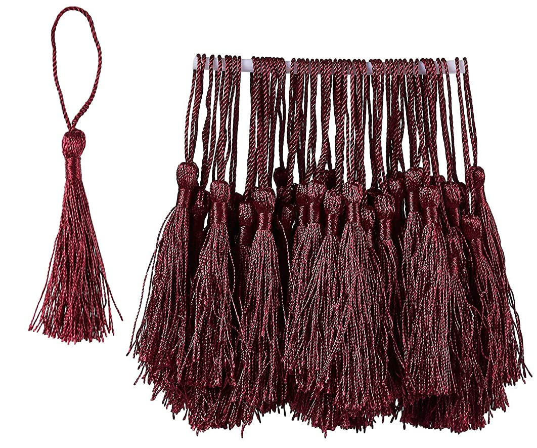 Bookmark Tassels - 150-Pack Silky Floss Tassel Pendant with 2.3-inch Cord Loop - Ideal for Handmade Craft Accessory, DIY Jewelry Making, Home Decoration, Souvenir - Burgundy, 0.1 x 5.4 x 0.1 inches