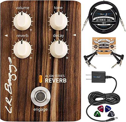 wholesale L.R. Baggs Align Reverb Effect Pedal for Acoustic-Electric Guitars Bundle with Blucoil 2x Patch Cables, 10-FT Straight Instrument Cable wholesale (1/4in), 4x Guitar Picks, and Slim 9V lowest Power Supply AC Adapter online