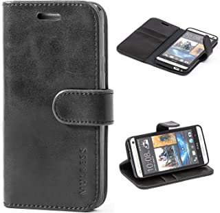 Mulbess HTC One M7 Protective Cover, Magnetic Closure RFID Blocking Luxury Flip Folio Leather Wallet Phone Case with Card Slots and Kickstand for HTC One M7, Black