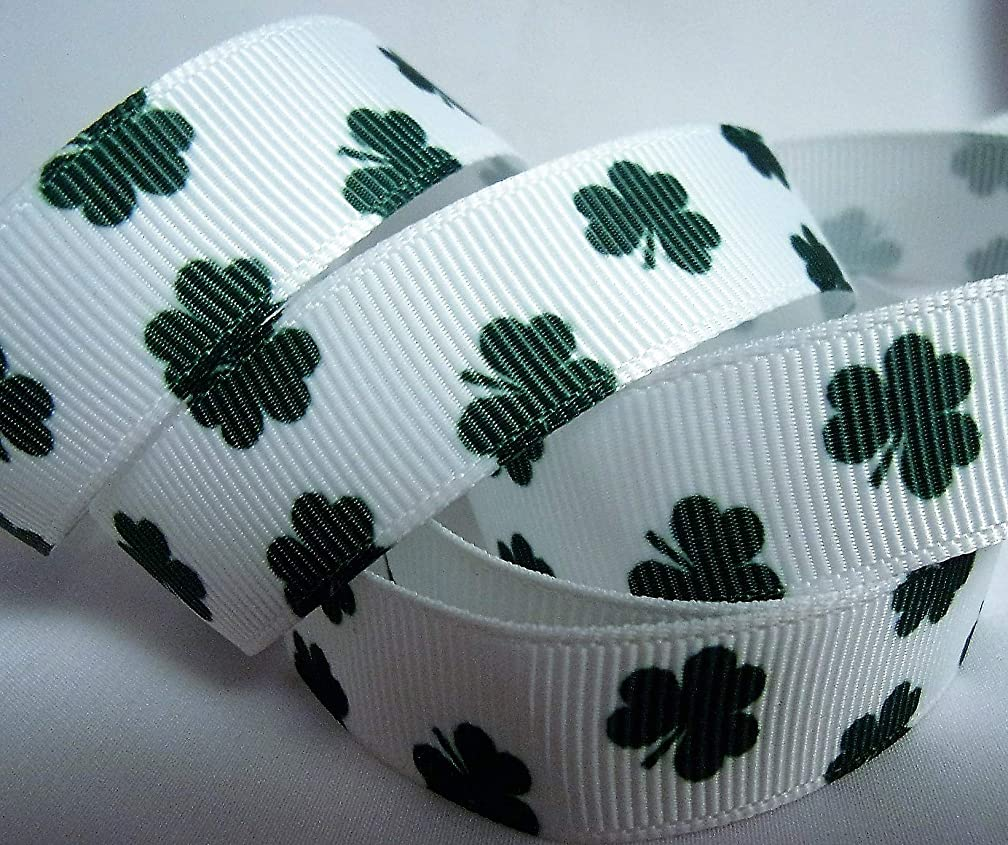 Grosgrain Ribbon - Little Shamrock Print - 5/8