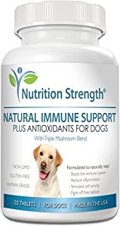 Nutrition Strength Immune Support for Dogs Plus Antioxidant, Reishi, Shiitake, Maitake, Turkey Tail Mushrooms for Dogs, wi...