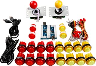 Easyget 2 Player LED Illuminated Arcade Game DIY Parts Kit for USB MAME & Raspberry Pi RetroPie Cabinet DIY Color: Red + Yellow