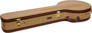 Crossrock Banjo Hard Case, Arch-top Wooden Case for 5 String Resonator Banjo with Backpack Straps in Gold Tweed
