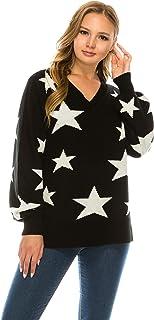 NANAVA Women's Pullover Sweater Winter V Neck Long Sleeve Star Pattern