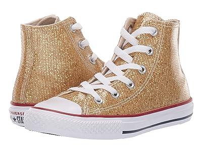 Converse Kids Chuck Taylor All Star Sparkle Hi (Little Kid/Big Kid) (Gold/Enamel Red/White) Girls Shoes