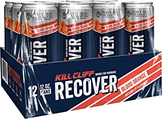 KILL CLIFF Recovery Drink, Blood Orange, 12 Oz Cans, 12 Count - Clean Hydration, Low Cal, Electrolytes, B-Vitamins