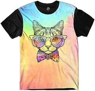 Camiseta BSC Animais Hipster Gato Magro Sublimada Rosa
